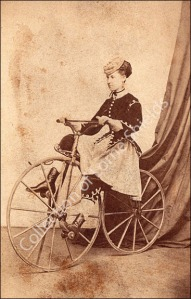 Black (first name unknown), a trick-rider on her velocipede, circa 1869. Carte de Visite Courtesy of the Collection of Lorne Shields
