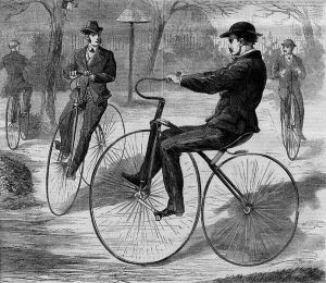 The American Velocipede, 1868, a wood engraving from Harper's Weekly