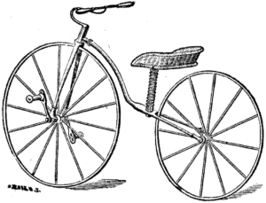 Women's velocipede. Note that it has a seat instead of a saddle.