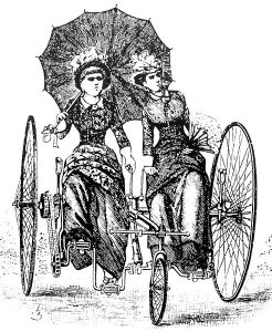 Illustration of two women on a sociable, circa 1886. Via Wikimedia Commons.
