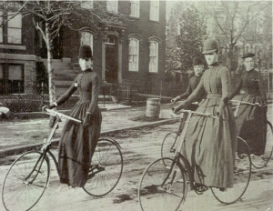 Women riding bicycles, circa late 1880s to to circa early 1890s, Courtesy of freewebs.com