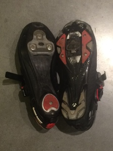 Left: Sidi road shoes Right: Bontrager mountain bike pedals at right.